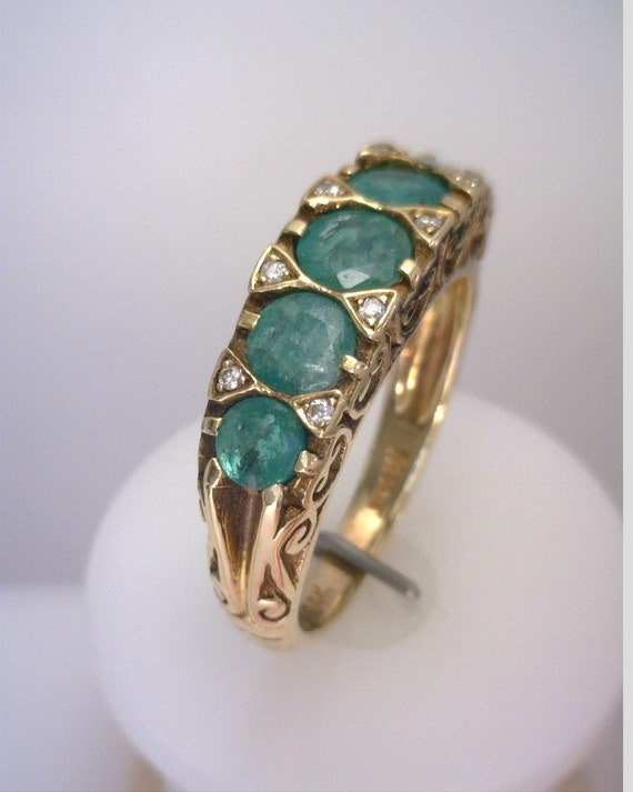 Victorian Style Emerald and Diamond Ring Band