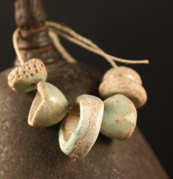 Mint Cream handmade stoneware beads pendant & bead caps (6)