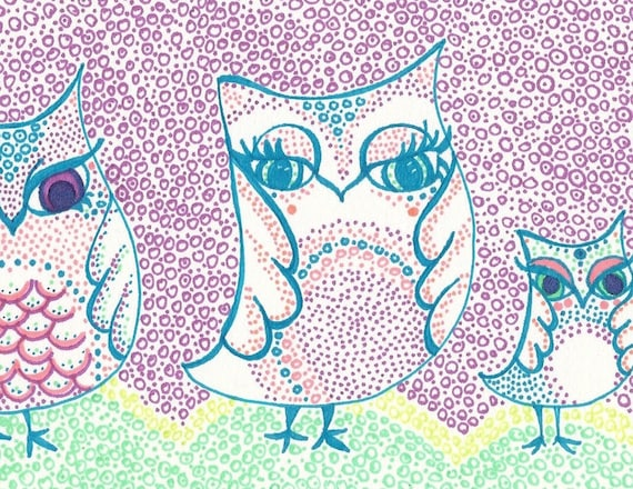 Three Owl Sisters in a Purple Evening- Original Drawing of SharpieLove
