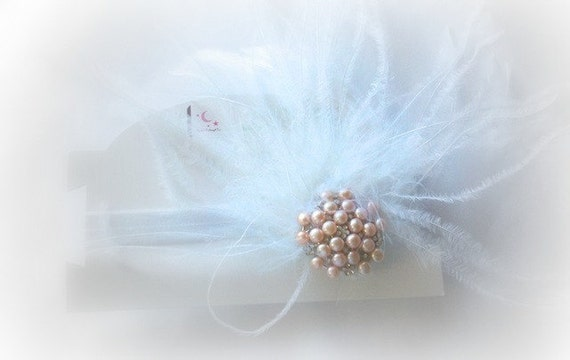 White Pink Pearl Swarovski Crystal Bling Hair Clip Elastic Headband Feathers Glam Diva Fits Ages Newborn through Adults