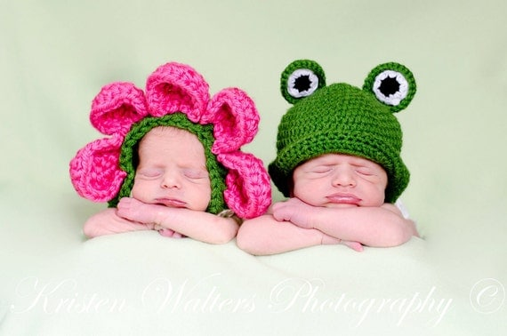 Crochet Princess and Frog Flower Bonnet and Frog Hat Twin Set- Photography prop