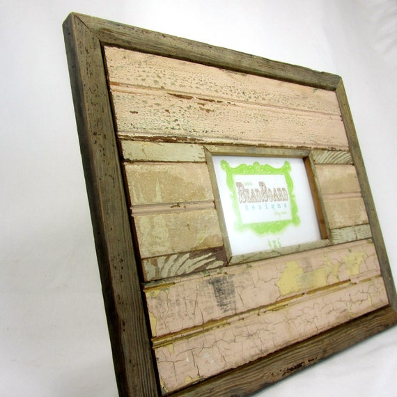 Reclaimed wood picture frame - pale pink, antique white, and brown - 4x6