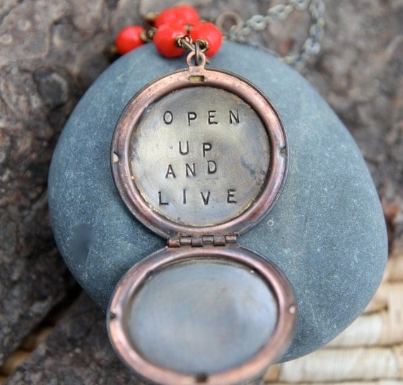 SALE open up and live . a (whispered) soul mantra locket