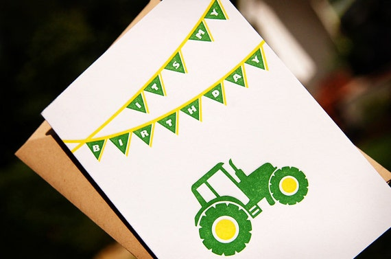 Letterpress Birthday Invitations, Tractor - set of 8