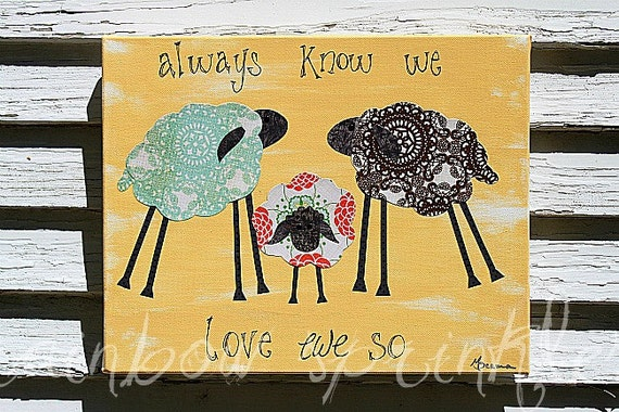 Children's Wall Art Print- lamb, sheep, family, Kids Art, Nursery Art