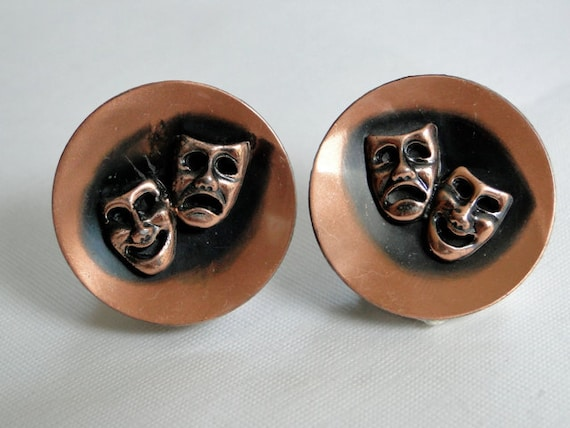 Tragedy Comedy  Theater Mask Earrings 50s copper by SeasideStudio from etsy.com