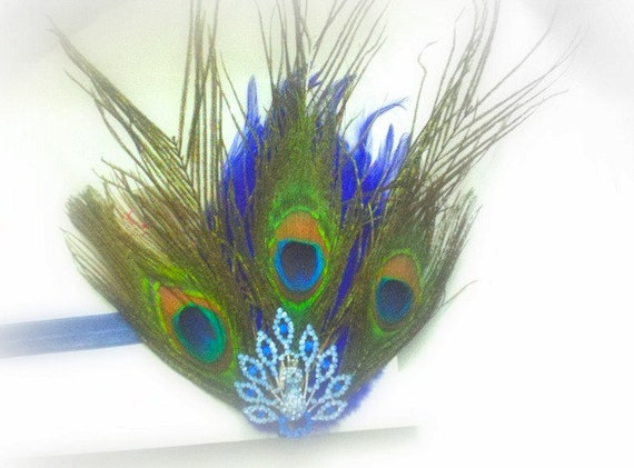 Electric Blue Peacock Swarovski Crystal Bling Hair Clip Elastic Headband Feathers Glam Diva Fits Ages Newborn through Adults
