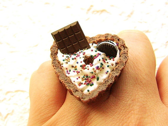 Chocolate Heart Tart Cup Vanilla Ice Cream by SouZouCreations