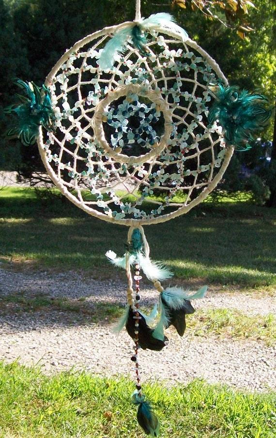 Wiccan Flower Gemstone Dream Catcher