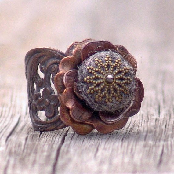 Chocolate Gray Heather Fairy Rose Cocktail Ring by Catherine Jeltes as galleryzooartdesigns on Etsy from etsy.com