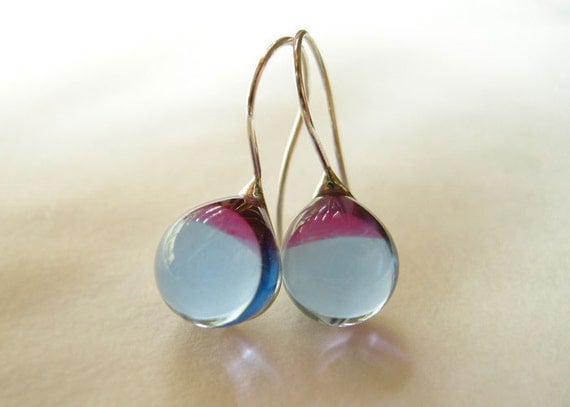 Teardrop earrings (No.13) - glass and sterling silver