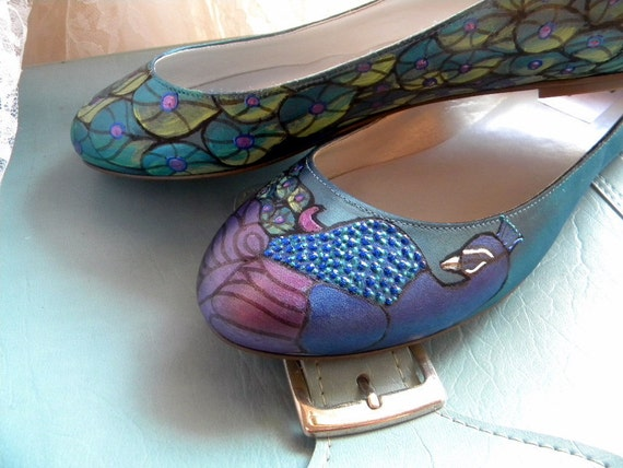 Wedding Shoes Ballerina Flat painted peacock Apple Teal
