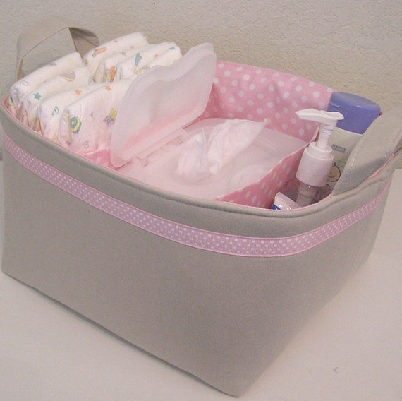 Natural Linen Pink Polka Dot Accent  Fabric Organizer Bin Basket Diaper Caddy ..... with Dividers