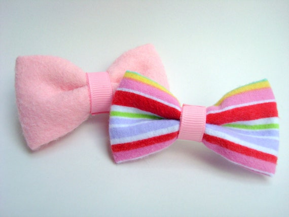 Rainbow Brite Inspired Stripes Pink  Set of Bows Hair Accessory