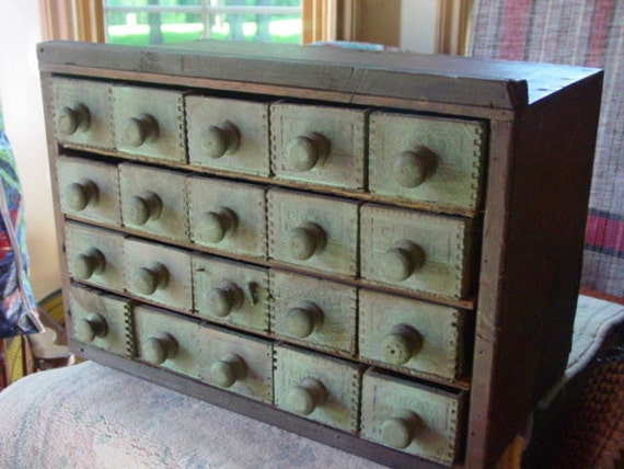 Folk Art Cabinet With Twenty Cheese Box Drawers