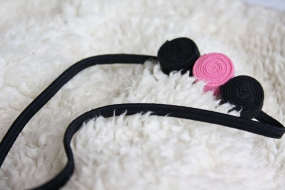 Three-in-a-Row Headband : Black/Pink