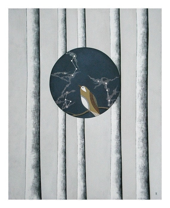 RESERVED for rednettlepress // original canvas painting // fine art // constellation bird by natasha newton