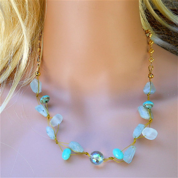 Clover Beach Beach or Sea Glass Necklace with by YOURDAILYJEWELS from etsy.com