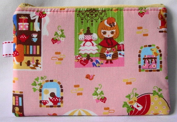 Cafe des Midi Zippered Pouch  Little Cafe Girls Pink by WolfBait