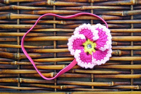 Shocking Pink Pansy Headband