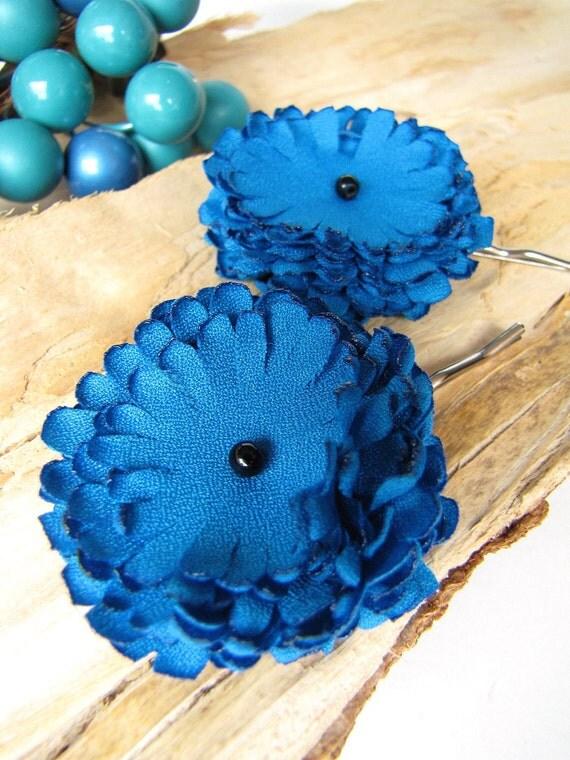 Ручной заколками с тканью цветы (комплект из 2 шт) - DEEP TURQUOISE DAHLIA