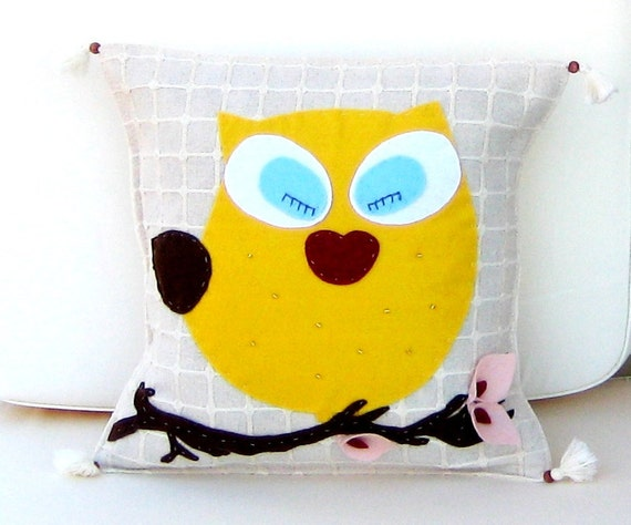 SWEET OWL Naturel %100 Cotton ORGANIC,Ecofriendly Pillow Cover 16'' x 16''