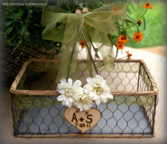 LG Chicken Wire Card Basket Box Table Centerpiece Rustic Barn Wedding Personalized Engraved Heart (Your Color Choice of Ribbon and Flower)