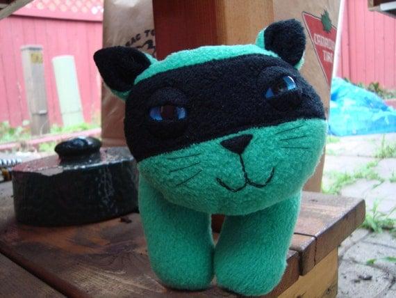 Stuffed animal plush ninja kitty cat in green and black fleece - Kito