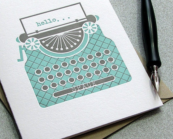 Vintage Typewriter Key Letterpress Card Set - Greeting Card - Light Aqua Blue - 3 pack (GTW01)