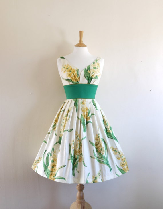 Yellow Hyacinth Print Sweetheart Prom Dress - Made to Measure - by Dig For Victory