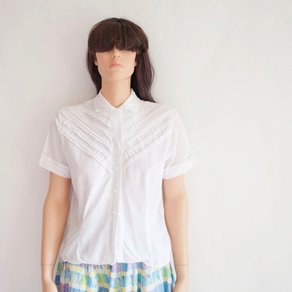 Vintage 50s De Costa White Cotton Blouse by MariesVintage on Etsy from etsy.com