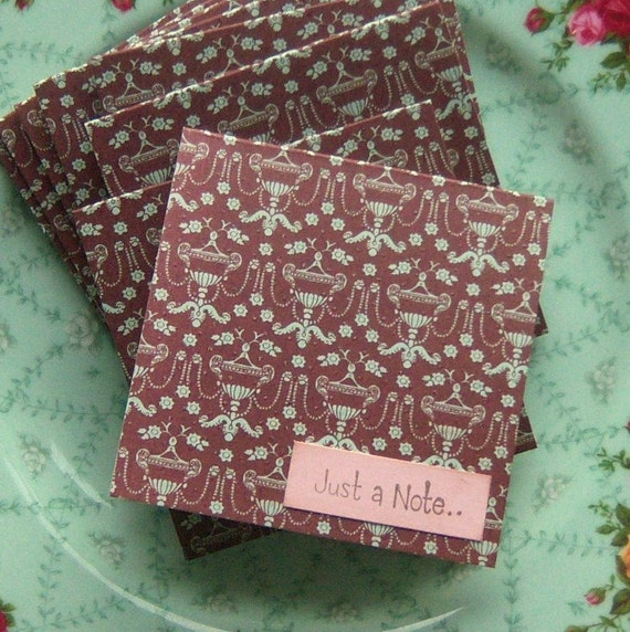 Just a Note Mini Notecards Brown Aqua Pink