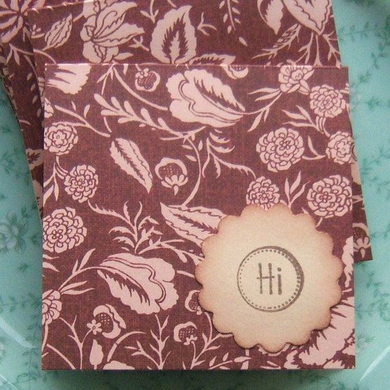 Pink and Brown Floral Mini Notecards Shabby and Vintage Inspired