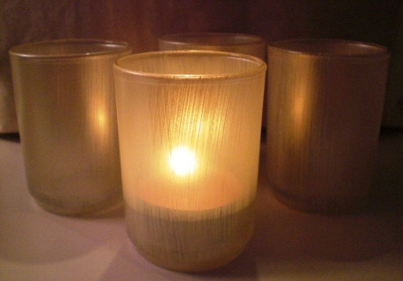Hand Painted Champagne Tea Light Candle Holders  Set of 4
