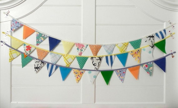Blue Loden Mini Vintage Circus Fabric Bunting, Garland, Banner, Pennant Decoration 9 Feet