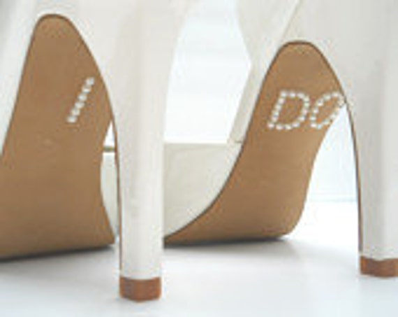 I DO Shoe Stickers in Pearl Beads or Clear Crystal or Blue, Silver, Gold or Purple Glitter