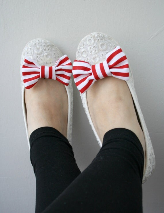 Red and White Striped Cotton Bow Shoe Clips  2 PCS