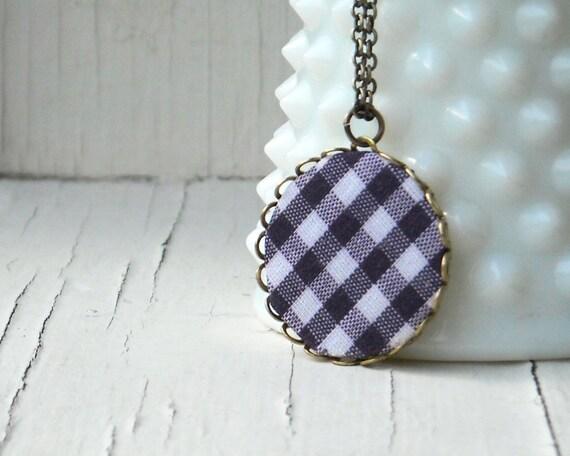 Фиолетовый Ожерелье - Гингем ткани полосы Ожерелье с латуни Подвеска