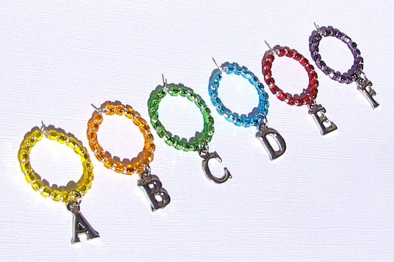 Alphabet Wine Charms Rainbow Colored YOUR CHOICE of letters Set of 6