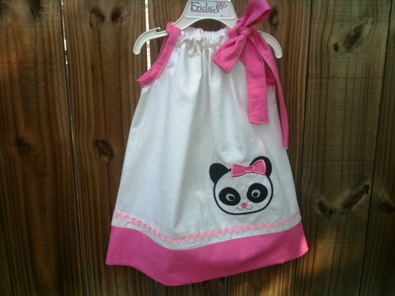 Super adorable pillowcase dress panda applique