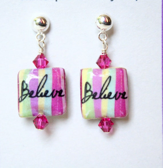 Believe Pink Boho Chic Petite Eco Earrings