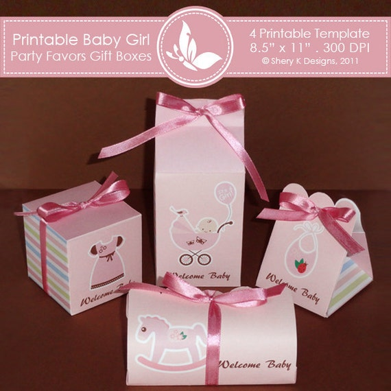 Printable Baby Girl Shower Party favors gift box ////// 002