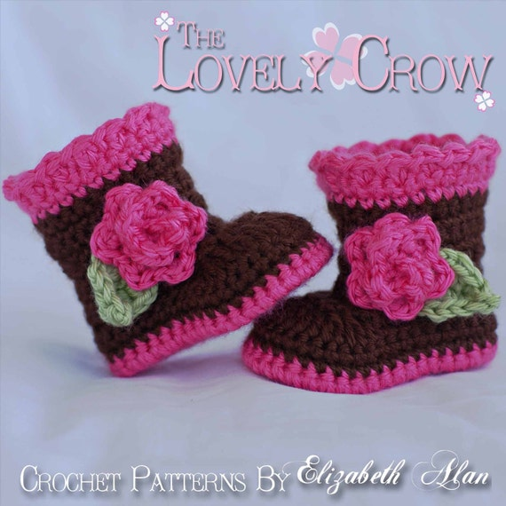Baby Crochet Pattern Baby  for Sugar and Spice Boots -  4 sizes - Newborn to 12 months.