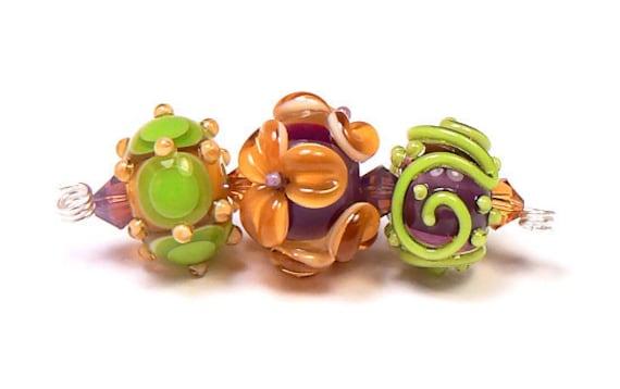 Equinox Trio 4, Lampwork Beads Handmade by Kandice Seeber, SRA