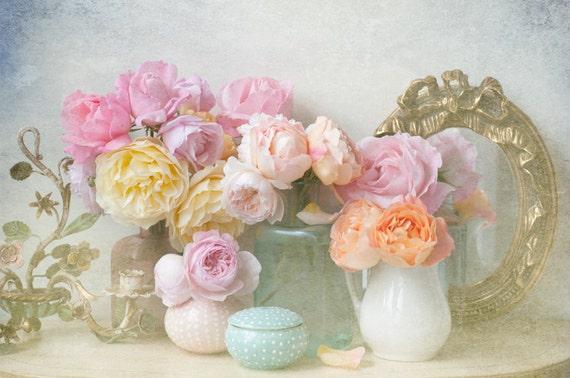 Мой сад роз, романтический цветочный изобразительного искусства фотографии, Vintage Декор Главная