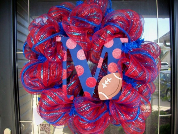 Deco Mesh Ole Miss Fan Wreath