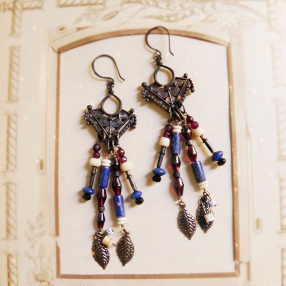 Kachina - Tribal brass chandelier earrings