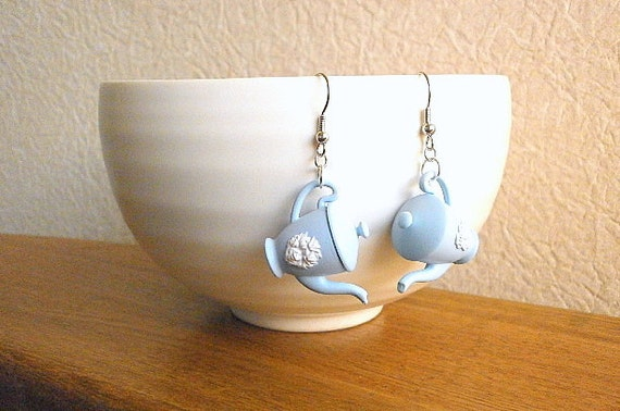 Blue White Elegant Teapot   Earrings by SouZouCreations on Etsy from etsy.com