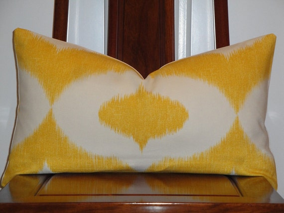 Decorative Pillow Cover 12 x 21 INCH - Duralee - Throw Pillow - Accent Pillow - Yellow - IKAT Print - Lumbar Pillow