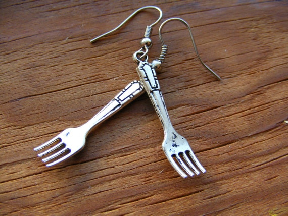 Earrings Silver Fork
